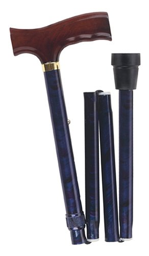 Folding Cane, Derby Handle Walking Stick, Adjustable Collapsible Foldable Walking Cane for Men and Women, Blue Cyclone
