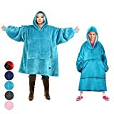 Tirrinia Blanket Sweatshirt, Super Soft Warm Comfortable Sherpa Hoodie with Giant Pocket, for Adults, Kids, Boys, Girls, Reversible, Hood, Oversized, Aqua