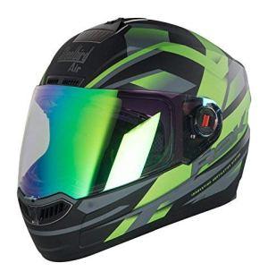 Steelbird R2K Night Vision Helmet Matt Finish with Day Night Dual Action Visor (Large 600 MM, Matt Black/Green)