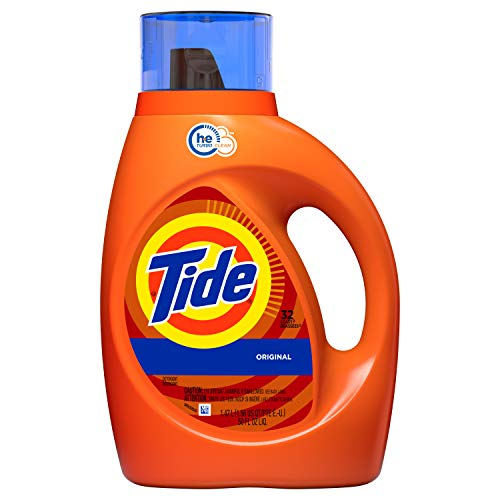 Tide Original Scent HE Turbo Clean Liquid Laundry Detergent, 50 oz, 32 loads(Packaging May Vary)