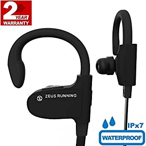 Sport Headphones - EXCLUSIVE 2018 - Best Small Running Headphones with Adjustable Ear Hooks - Waterproof IPx7 - Earbuds with Mic - Wireless Workout Earbuds for Men Women