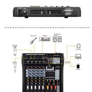 Audio2000S-AMX7342-Six-Channel-Audio-Mixer-with-USB-Interface-and-Sound-Effect