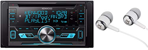Kenwood Double-DIN In-Dash CD/MP3/USB Bluetooth AM/FM Car Stereo Receiver High Resolution Audio Compatibility Pandora/iHeart Radio/Spotify/iPhone and Android App Ready / FREE ALPHASONIK EARBUDS