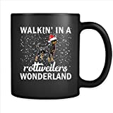 Walking In A Rottweilers Wonderland, Christmas Gift, Xmas, Dog Lover - Full-Wrap Coffee Black Mug