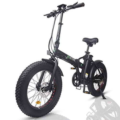"""ECOTRIC Electric Foldable Bike Beach Snow Bicycle 20"""" 4.0 inch Fat Tire Aluminum Frame Ebike 500W 48V/13AH Electric Mountain Bicycle (Black)"""