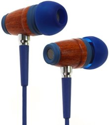 Symphonized Kids Volume Limited Premium Wood in-Ear Noise-isolating Headphones, Earbuds, Earphones with Mic (Bubble Blue)