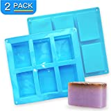 2 Pack Thicker Silicone Soap Molds, 6 Cavities Non-Stick Silicone Soap Molds for Making 3'x 2' Rectangle Soaps, BPA Free