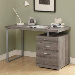 Monarch Specialties Computer Desk with File Cabinet-Left or Right Set-Up, 48″ L, Dark Taupe