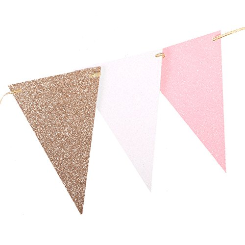 Ling's moment 10 Feet Vintage Style Triangle Flag Bunting Banner for Wedding Birthday Baby