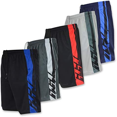 Real Essentials Men's Active Athletic Performance Shorts with Pockets - 5 Pack 1