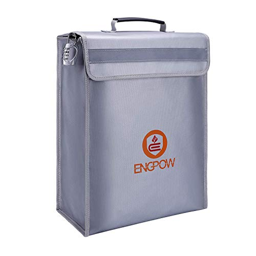 ENGPOW Large Fireproof Bag,Fireproof Lock Box Bag for Documents,Water Resistant and Fireproof Safe Storage for File,Money,Valuables,Locking Zipper Holder Non Itchy Silicone Coated (16'x12'x5')