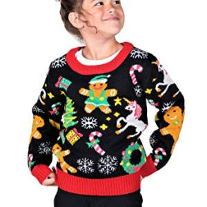 KESIS Children Gingerbread Unicorn Wreath Ugly Christmas Sweater 9-10Y