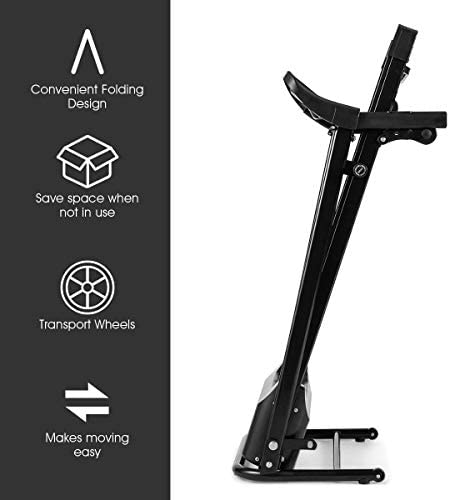 Goplus Electric Folding Treadmill, Adjustable Incline and Low Noise Design, with LCD Display and Heart Rate Sensor, Compact Running Machine for Home Use 5