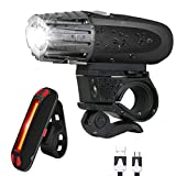 McDoo! Bike Light Set, USB Rechargeable Bicycle LED Headlights and Tail Lights for Mountain Bike and Road Ultra Bright Front Lights Rear Lights Bike Waterproof Warning Lights for Cycling Camping