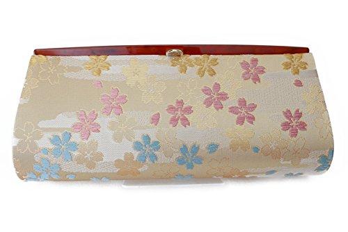 "Sakura Pattern""Cherry Blossoms""- Clutch Bag, Nishijin KINRAN Beige"