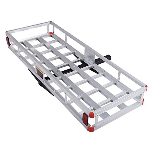 Goplus 60' x 22' Hitch Mount Cargo Carrier, Aluminum Luggage Basket Rack Fits 2' Receiver, Rear Cargo Rack for SUV, Truck, Car, 500LBS