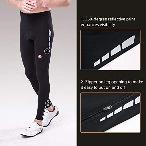 Souke Sports Men's Bicycle Pants 4D Padded Road Bike Tights Breathable Cycling Long Leggings 5