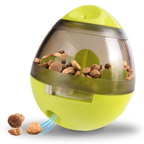 Wellood Dog Treat Dispenser Ball Toy, Interactive Treat-Dispensing Ball for Dogs & Cats: Increases IQ and Mental Stimulation, Tumbler Design Easy to Clean Green(3.9In x 4.6In) 1