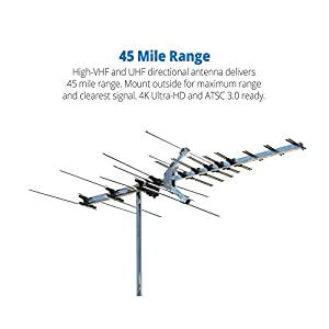 Winegard Platinum Series HD7694P Long Range TV Antenna (Outdoor / Attic, 4K Ultra-HD Ready, ATSC 3.0 Ready, High-VHF / UHF) - 45 Mile Range HD Antenna