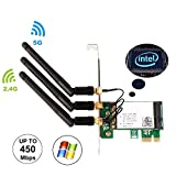 Ubit WiFi Card, 450M Dual Band 5GHz/2.4GHz PCI-E Wireless WiFi Network Adapter Card for PC(WIE5300)