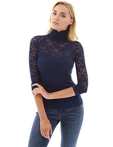 2d3df025 PattyBoutik Women's Turtleneck Sheer Lace Blouse - Mudii Boutique