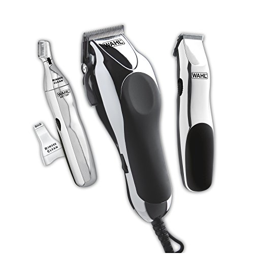 Wahl Clipper Home Barber Clipper Kit with hair clipper, beard trimmer, personal trimmer, haircutting at home in a professional style by the Brand used by Professionals #79524-3001
