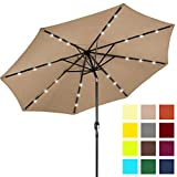 Best Choice Products 10ft Solar Powered LED Lighted Patio Umbrella w/Tilt Adjustment, Fade-Resistant Fabric, Wind Vent - Tan