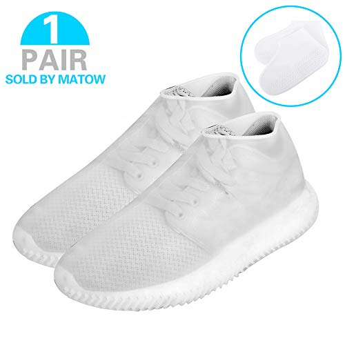 Matow Reusable Silicone Boot and Shoe Covers, Waterproof Rain Socks, Silicone Rubber Shoe Protectors for Indoor and Outdoor Protection - 1 Pair(2 PCS) (Medium, Clear White)