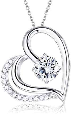 Milacolato S925 Sterling Silver Heart Necklace Forever Love CZ Heart Mom Necklace for Women, Mother Fine Romantic Jewelry with Gift Box