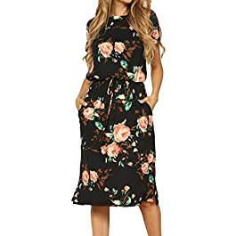 Simier Fariry Women's Modest Work Casual Midi Dress with Pockets title