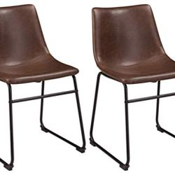 Ashley Furniture Signature Design – Centiar Dining Chairs – Set of 2 – Mid Century Modern Style – Black Metal Base – Brown Faux Leather Bucket Seat