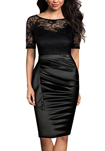 41SKvNZO 4L Polyester,Spandex,Lace Zip to Center Back,Lace contrast for Top,short Sleeve,High Waist,Slim bodycon dress Hand Wash Only In Low Temperature Or Dry Washing,Please Don't Ironing