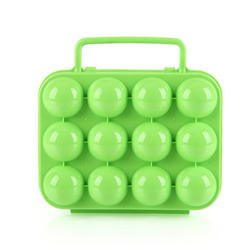 VolksRose Portable 12 Eggs Slots Holder Shockproof Storage Box for Camping Hiking - Green