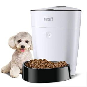 ROMEKER Automatic Cat Feeder 4L Smart Pet Feeder Auto Dog Cat Food Dispenser Timed Cat Feeder Large Dog Food Feeder 6 Meal,Timer Programmable Portion Control Hidden LCD Display Battery/Plug-in Power