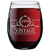1959 60th Birthday Gifts for Women and Men Wine Glass | Funny Vintage 60 Year Old Presents | Best Anniversary Gift Ideas Him Her Husband Wife Mom Dad | 15 oz Stemless Glasses | Party Decorations Wines