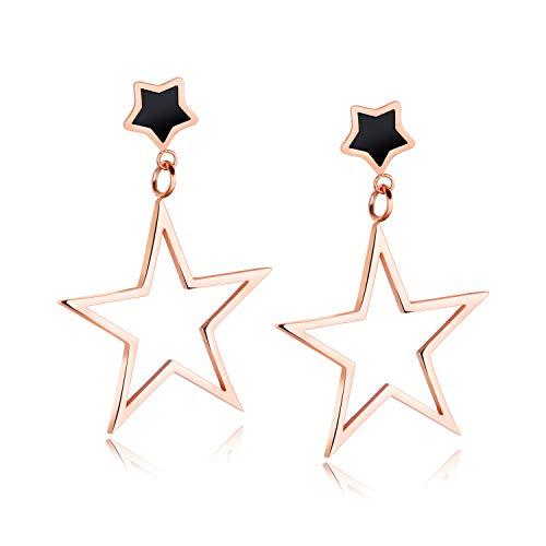 UMtrade Mujer Acero inoxidable Largo Pentagram Estrella Colgar Semental Aretes Negro Oro rosa Aretes...