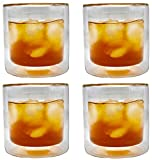 CoolZest Cocktail Glasses, Old Fashioned Double Wall Insulated Glass Tumbler, Borosilicate Glassware Drinking Glasses for Whiskey, Bourbon, Cocktails, Coffee, Tea, 8-Ounce, Clear Glass Set of 4