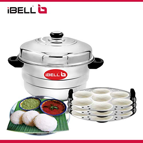 41SdftF4juL - IBELL IP21P3SM High Food Grade Idly Pot Stainless Steel with Steamer and Mini 3 Idlis Plates (21 Idlyes)