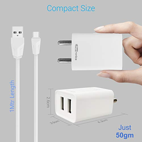 Portronics Adapto 36 USB Wall Adapter with 2.1A Quick Charging Dual USB Port + Micro USB Charging Cable for All iOS & Android Devices (White) 6