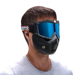 Steelbird 3 in 1 Unisex Face Shield Mask, Goggle (Golden Glass)