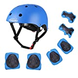 Kids Helmet, Toddler Helmet for Kids 3-5/5-8 Years, Adjustable Bike Skateboard Scooter Helmet with Protective Gear Set Knee Elbow Pads Wrist Guards for Boys Girls Cycling Skating Safety Guard (Blue)