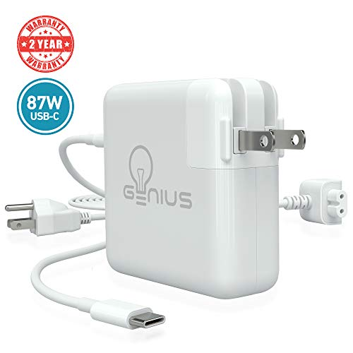 Genius Charger for Apple MacBook Pro 15' 2016, 2017, 2018 | 87W USB C Power Adapter Laptop, 6.5f Cord + Free 6ft Cable Extension | No Fraying, No Overheating, Cool to The Touch, 2-Year Warranty