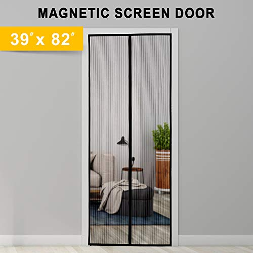 Titan Mall Magnetic Screen Door with Super Tight Self Closing Magnetic Seal and Durable Polyester Mesh, Full Frame Mounting Tape, Fits 39'W x 82'H Door, Black Trim Magnet Curtain & Mosquito Screen