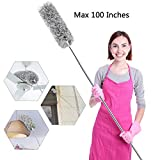 Microfiber Duster for Cleaning with Telescoping Extension Pole 30 to 100' Extendable Duster for Cleaning High Ceiling Fan,Blinds, Baseboards,cars