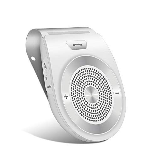 Bluetooth in Car Speakerphone Motion AUTO ON Wireless Speaker for Handsfree Talking/Music Streaming with Car Charger & Clip for All Smartphone, 20H Play Time, Dual Link Connectivity Enhance Bass