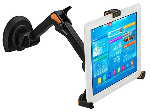 Mount-It! Universal Tablet Mount Holder, 3-In-1 Design for Under Cabinet, Wall, and Desk Mount Installation, Fits Up To 10 Inch Tablets - Black (MI-1401)