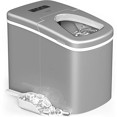 hOmeLabs Portable Ice Maker Machine for Countertop - Makes 26 lbs of Ice per 24 hours - Ice Cubes ready in 8 Minutes - Electric Ice Making Machine with Ice Scoop and 1.5 lb Ice Storage - Silver