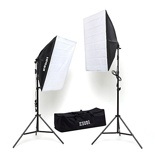 ESDDI Photography Softbox Continuous Lighting System Photo Studio Equipment Light Kit Soft box 20″X28″ Photo Model Portraits Shooting Box 2pcs 85W Video Lighting Bulbs.