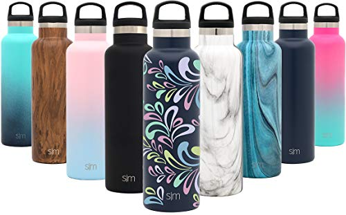 Simple Modern 24oz Ascent Water Bottle Hydro Vacuum Insulated Tumbler Flask w/Handle Lid - Double Wall Stainless Steel Reusable - Leakproof Pattern: Floral Swirl