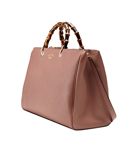 41T8gZt5BeL Gucci Bamboo Shopper Leather Tote Large Rose Beige (Model Number 323658 A7M0C 6813) Measures 17 length x 7 width x 11 height inches Soft rose beige (rosy) textured leather material with fine light gold hardware, bamboo top handles, removable leather shoulder stap